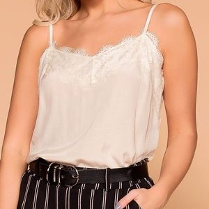 Tops - NEW 🌟 Ivory Satin Lace Blouse